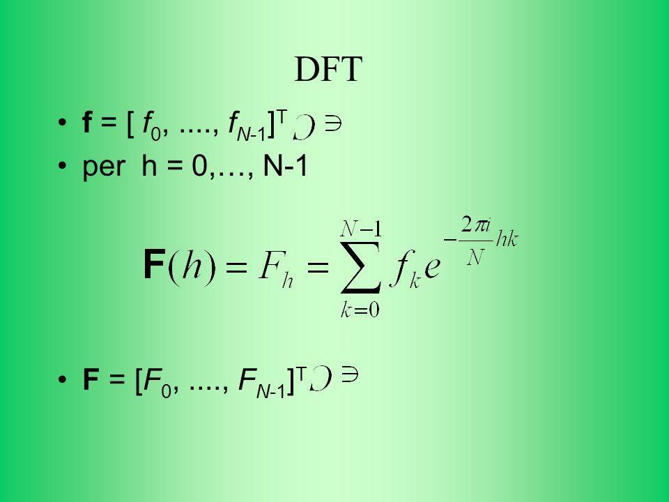 DFT f = [ f0, ...., fN-1]T per h = 0,…, N-1 F = [F0, ...., FN-1]T